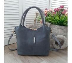 Замшевая женская сумка серая