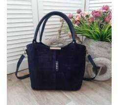 Замшевая женская сумка синяя
