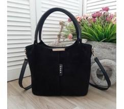 Замшевая женская сумка черная