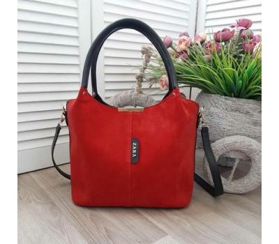 Замшевая женская сумка красная