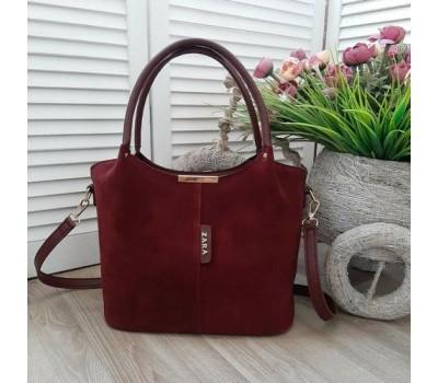 Замшевая женская сумка бордовая