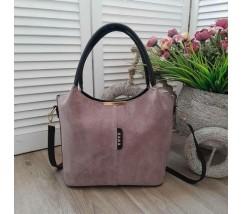 Замшевая женская сумка розовая