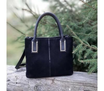 Женская замшевая сумка черная