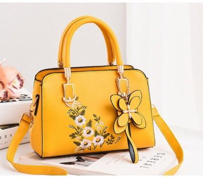 Женская сумка с цветочным узором желтая