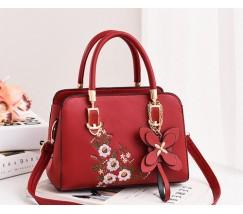 Жіноча сумка з квітковим візерунком червона