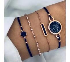 Набор браслетов золотистый с черным
