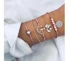 Набор браслетов золотистый с розовым