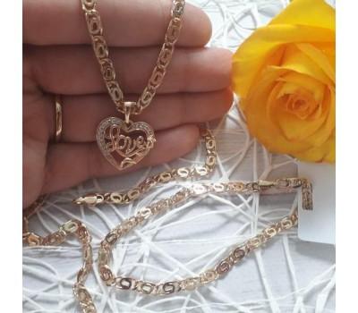 """Набор браслет и цепочка с кулончиком """"Love"""""""