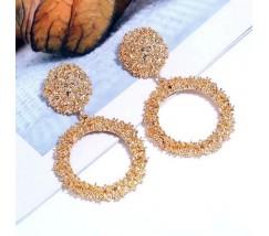 Золотистые серьги круглые