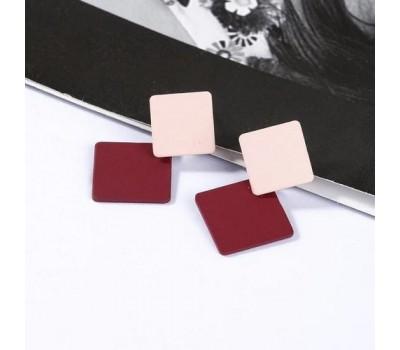 Серьги ромбики розово-бордовые