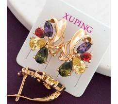 Женские серьги позолота с разноцветными камнями