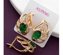 Серьги женские позолота с зелеными камнями