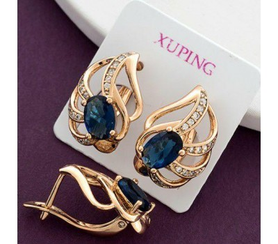 Серьги женские позолота с синими камнями