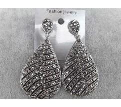 Красивые большие женские серьги с камнями серебристые